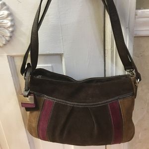Adorable Velour Tricolor Tignanello Handbag